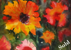 Steffens watercolor painting - Aglow in the Garden - Sunflowers and golden flowers