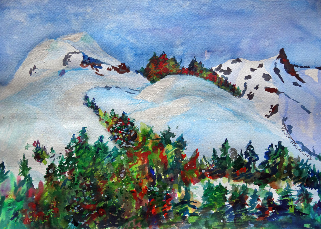 Steffens watercolor painting - Mountain Snow