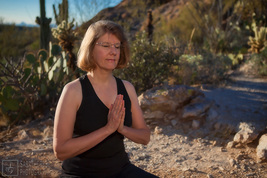 Peggy Steffens meditating at Saguaro National Monument East