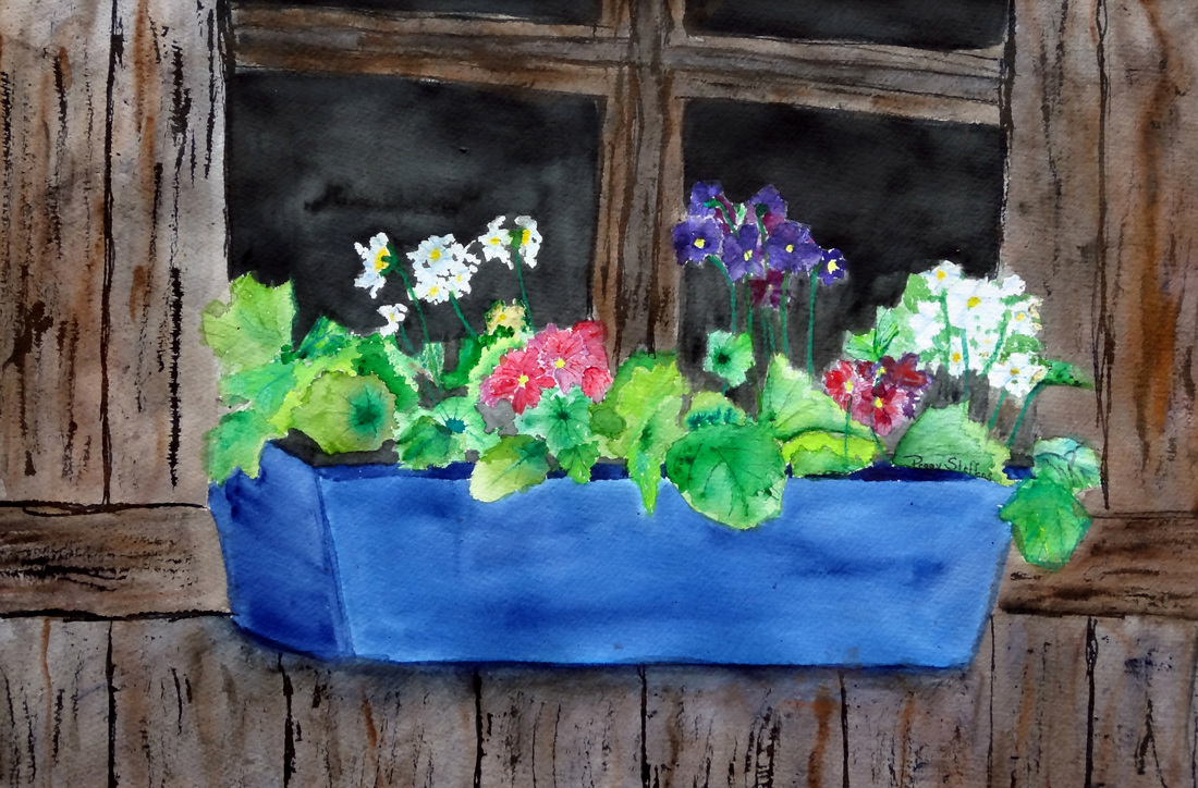 Steffens watercolor painting - Flower Box  - flower box on a barn window