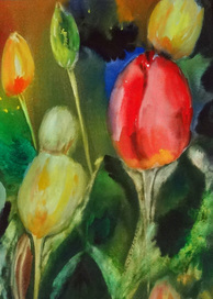 Steffens watercolor painting - Garden Delight - tulips