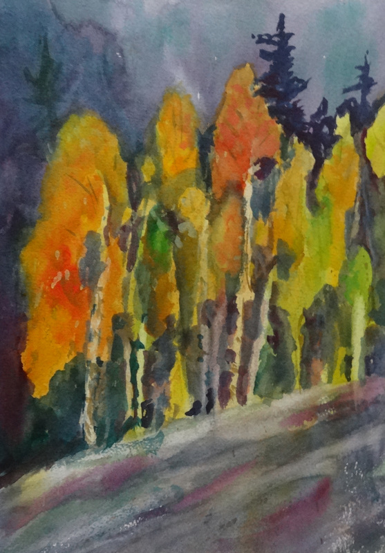 Steffens watercolor painting - Fall Tress