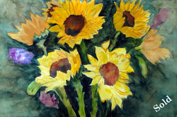 Steffens watercolor painting - Sunflower Series #1  - yellow sunflowersure
