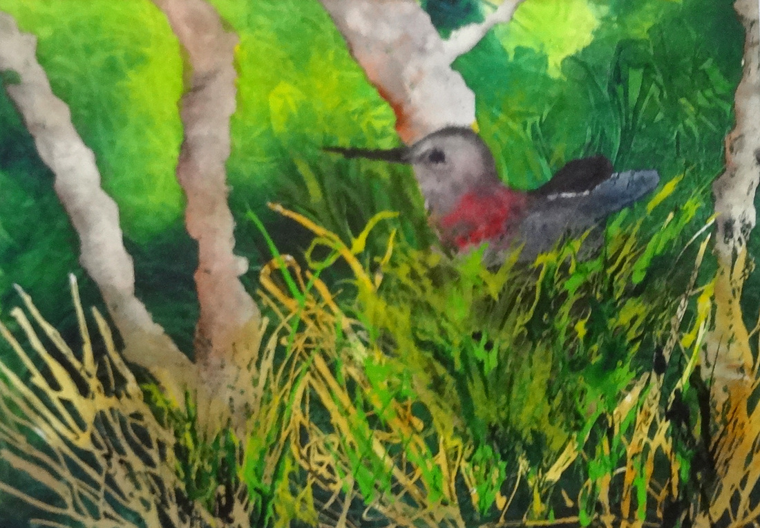 Steffens watercolor painting - Nesting Hummer